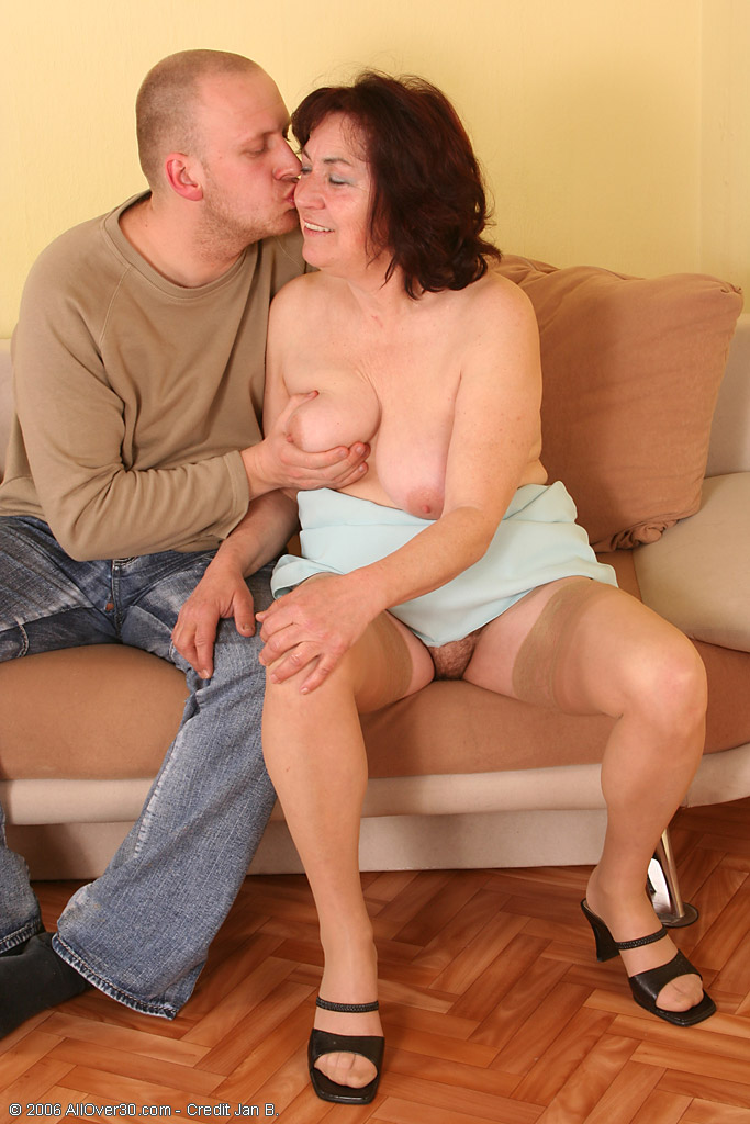 63 Year Old Hanna Deepthroating and Fucking Young Hard Cock