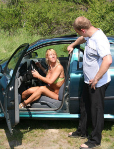 Sylvie Gets Her  Older Stunner  Cunt Torn Up on the Hood of a Car