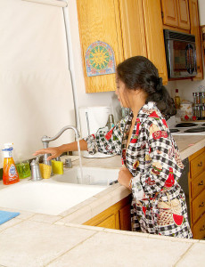 Tight Asian  Wife Gets Herself off at the Kitchen Sink
