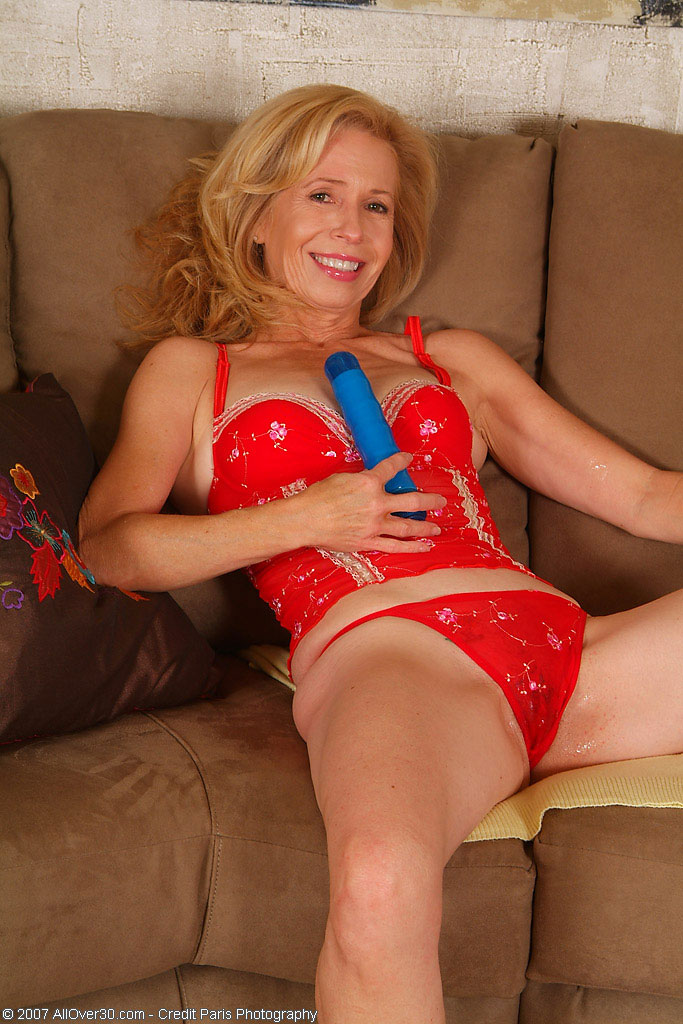 Beautiful 55 Year Old  Mom Plays with Her Huge Blue  Dildo