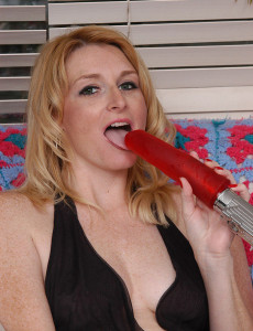 Sweet Ashley Rails a Thick Red  Fake Penis for the Camera