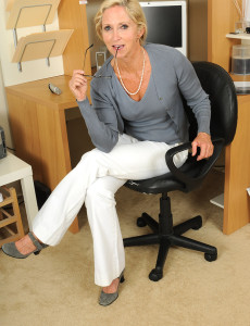 Blond Office  Cougar Shows off Her 55 Year Old Super Hot Bod Here
