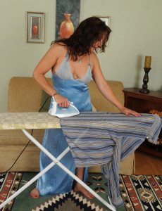 Hot 43 Year Old  Brown Haired Chane Takes a Break from Her Housework