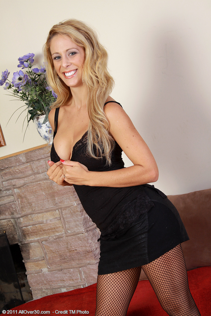 32 Year Old Cherie Deville in a Elegant Ebony Dress  Takes off on Camera