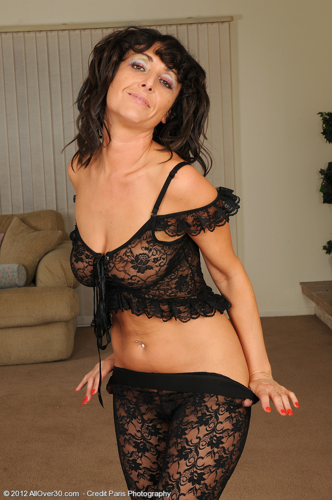Alluring 37 Year Old Coral from  Milfs30 in Taut Ebony Knickers Posing