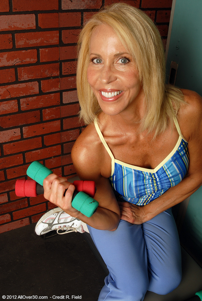 54 Year Old Erica Works out and then  Opens Her Hairy  Beaver for You