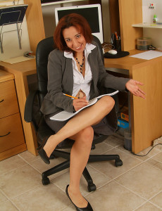 Hot Redheaded Mexican  Mom Cynthia  Opens at the Office