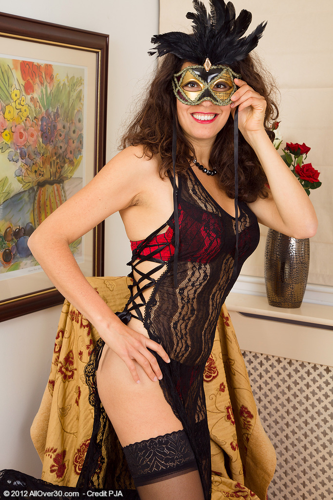 Sexy  Wife Isabelle in Slinky Lace Exposing Her Hot Hairy  Beaver