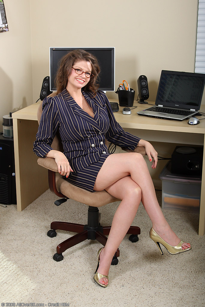 Big Breasted Office Administrator Becomes Bored So  Takes off for the Camera