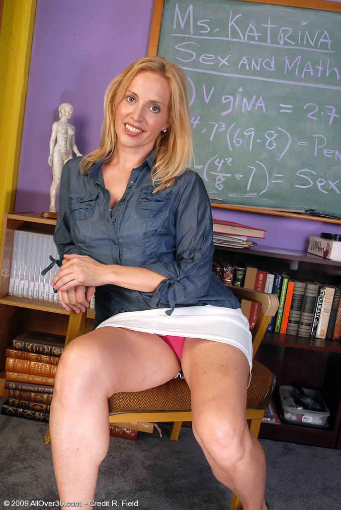 Super  Super  Super  Super Naughty  Blond Haired Katrina Plays Teacher and  Opens Her Older Gams