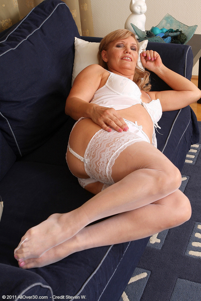 Lena F in White Lace  Opens Her 57 Year Old  Beaver for the Camera