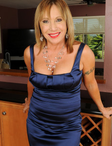 Super  Super Kinky 60 Year Old Luna in and out of a Elegant Blue Evening Gown
