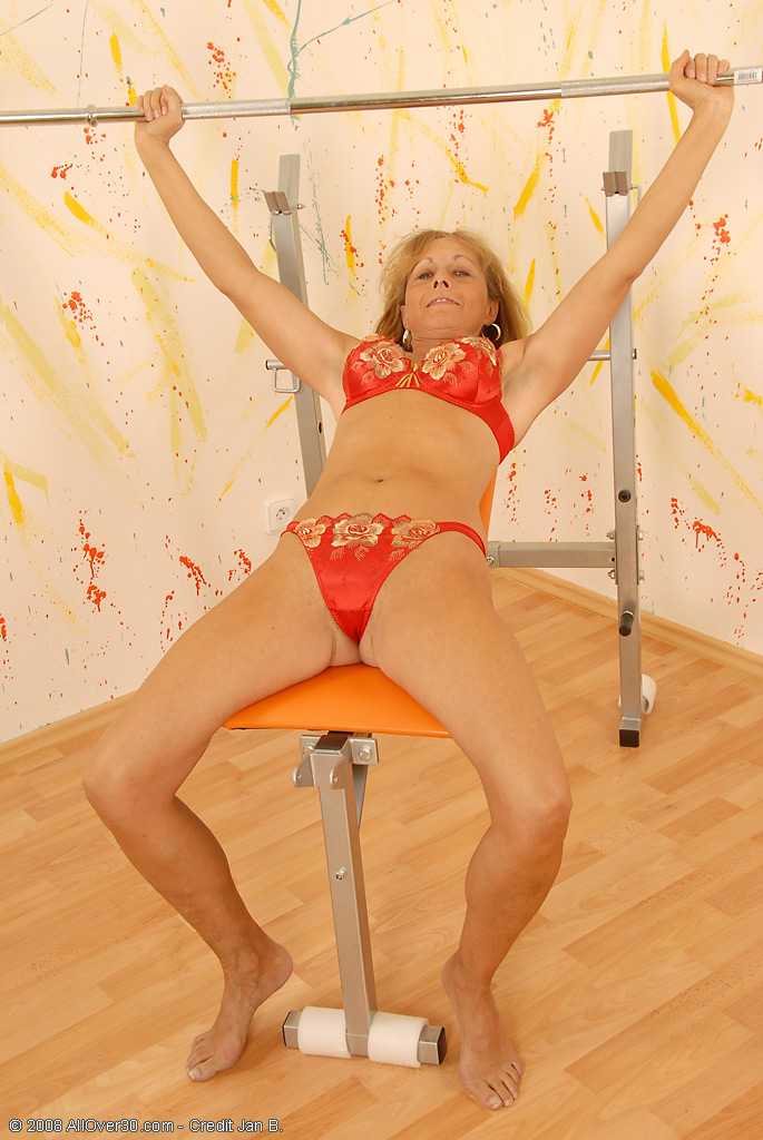 44 Year Old Margit Pull off Her Red Thongs and Displays Perfect Beaver