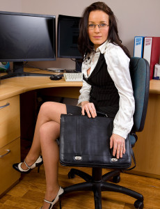 Brown Haired Marlyn Gets  Hot in Her Office and  Opens Open Her  Beaver