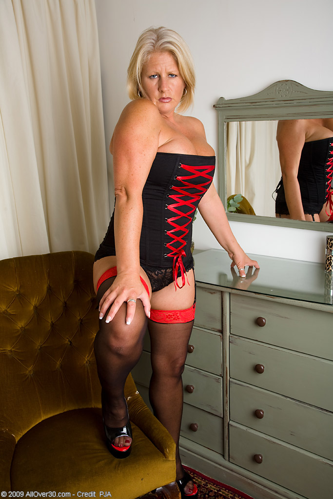 Big Breasted  Cougar Robyn in Red and Ebony Underwear  Opening Up in This One