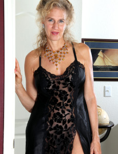 54 Year Old Sabrina from  Milfs30 Glides out of Her Ebony Undies