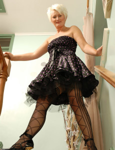 Blond  Cougar Sally T Struts on the Stairs in Ebony Panties