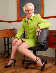Older  Blond Haired Sally T from  Milfs30 Prepares for Her First Lesson