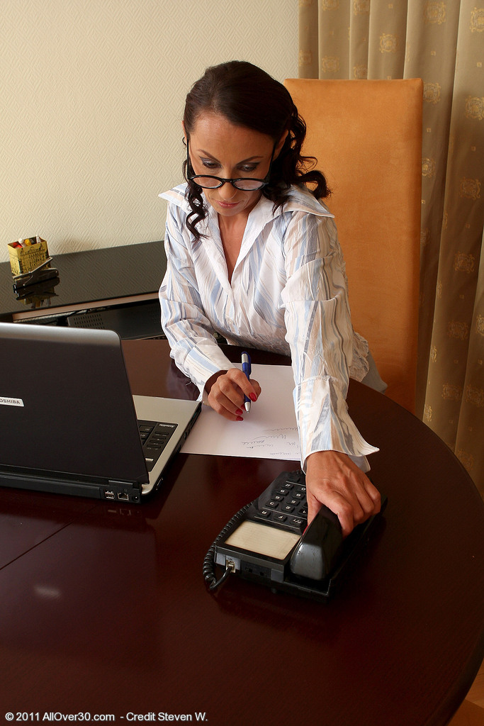 Office  Cougar Sandy K from  Milfs30 Showcasing Good Interest in Work