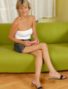 45 Year Old Sherry D Glides a Large  Dildo into Her  Hot  Older Babe Hole