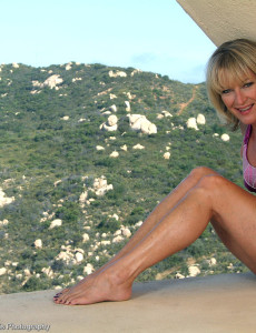 Popular  Blond  Cougar Tina from  Milfs30 Poses at the Top of the World