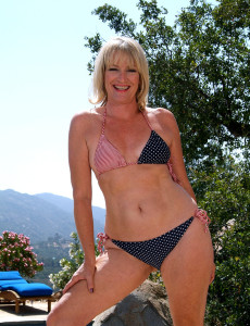 Hot  Blond Haired  Cougar Tina Poses  Nude Outside by Her Pool