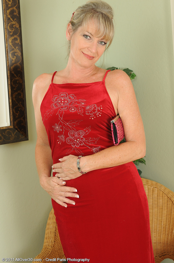 Luxurious  Cougar Tina Looking Elegant in and out of Her Red Dress