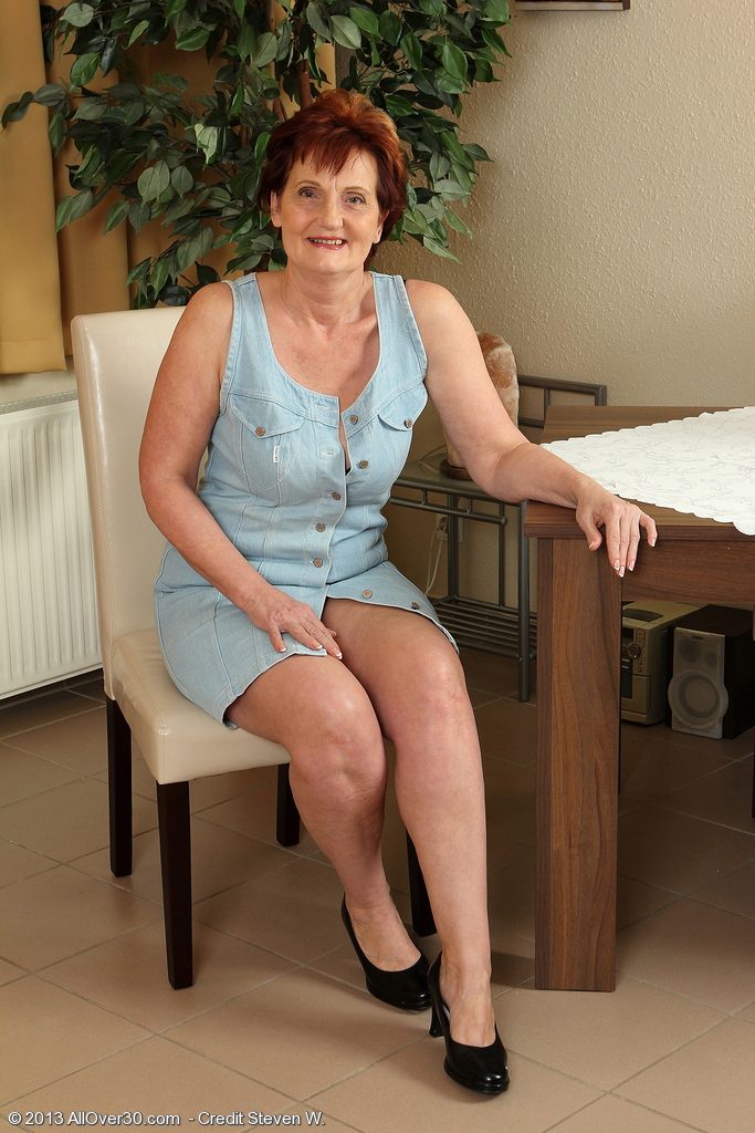 Ginger Haired 53 Year Old Hillary G  Peels off and  Opens Her Old Gams