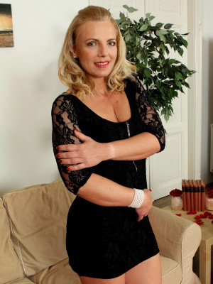 47 Yr Old  Blond Britney from  Milfs30 Pulls off the Doll Elegant Dress