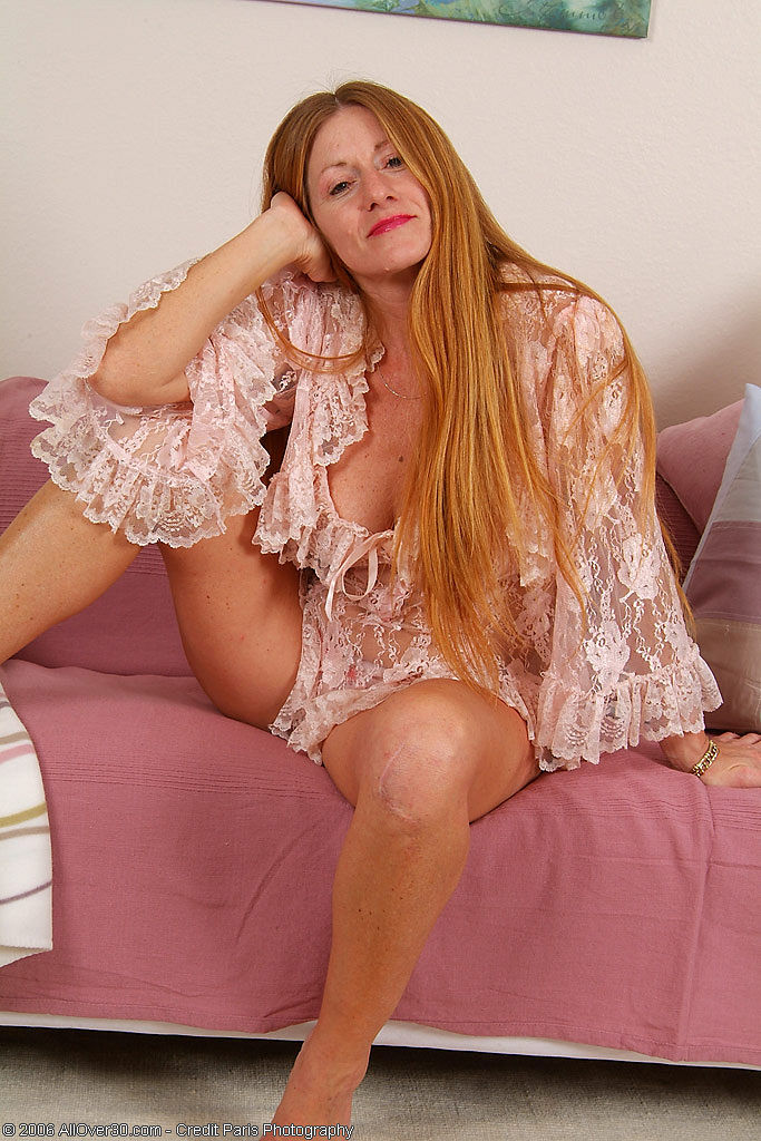 Redheaded  Mom Wendy in Crotchless Undies Playing