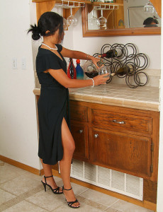 Elegant Adena  Undresses off Her Ebony Dress and  Opens Her Gams