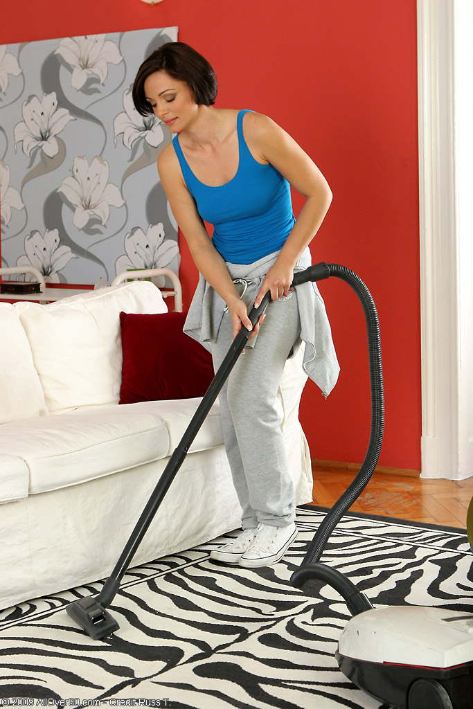 Nothing Like a Little Housework to Get This  Brown Haired  Mom Hot and  Super  Super  Super  Super  Super Horny