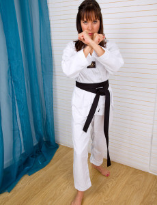 Perky Pussied Cindy Reed Shows off Her Karate Abilities Before  Opening Up