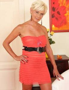 45 Year Old  Blond Haired Katie Hood  Opens Her Gams and Wrings Hooters
