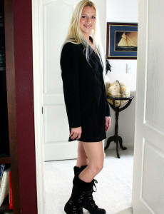 Long Haired  Blond Kyra  Opens Her Long Gams to Expose Her Hairless  Hoo Ha