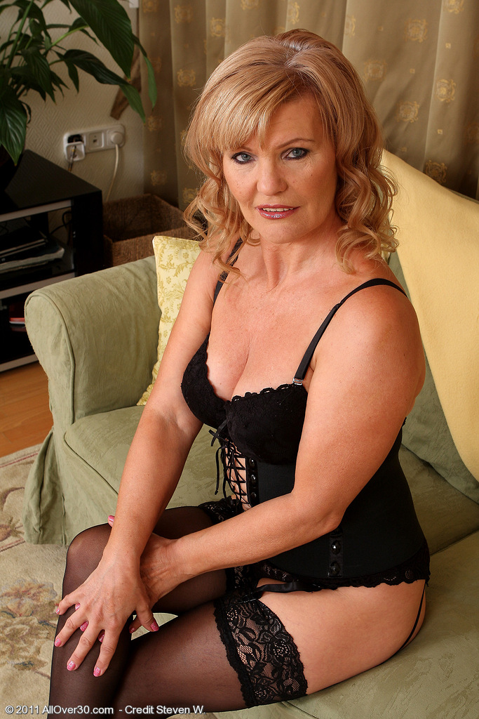 Gorgeous 57 Year Old Lena F Slides out of Her Slinky Knickers to Pose