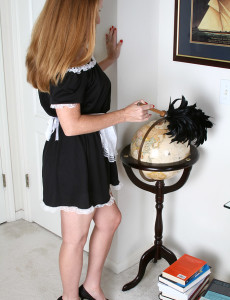 Michelle M Plays Maid Before Undressing and  Opening Up Her Long Gams