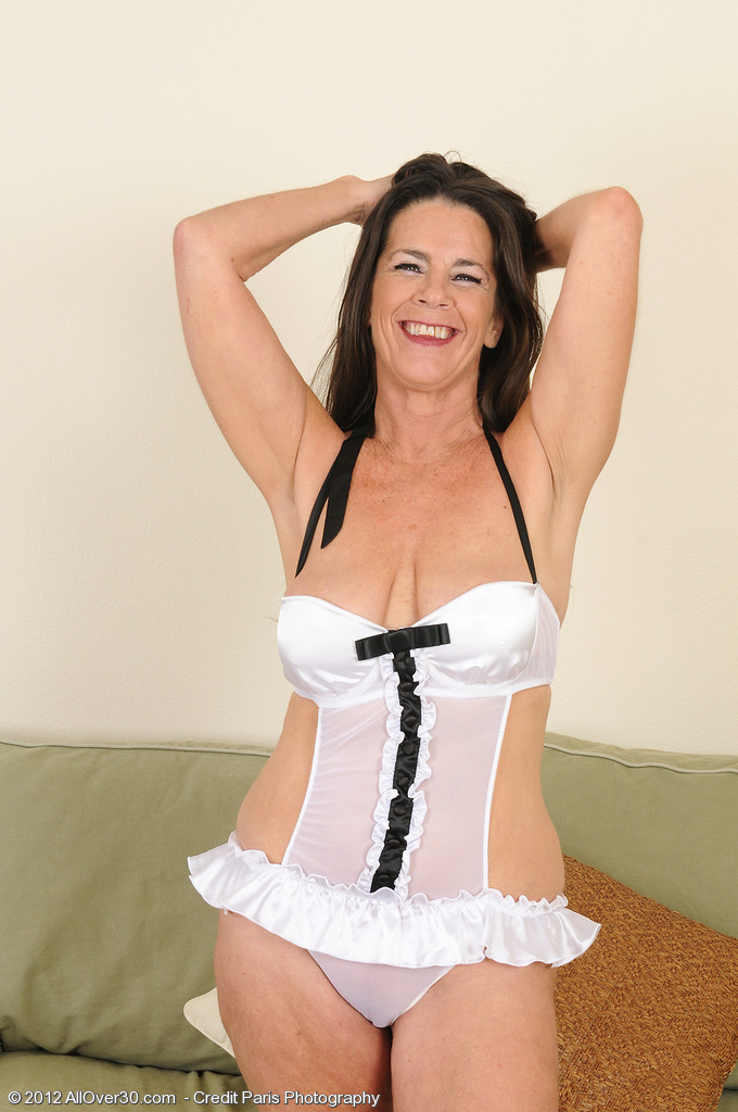 Super  Super Crazy 51 Year Old Tia Slides out of Her White Panties and  Opens Wide