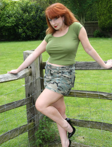 Big Breasted and Redheaded  Cougar Gets Down and Dirty in the Backyard