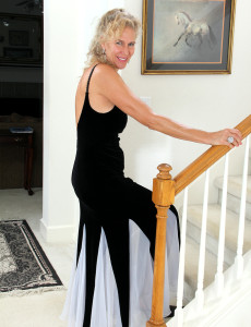 54 Year Old Sabrina from  Milfs30 Glides out of Her Elegant Dress