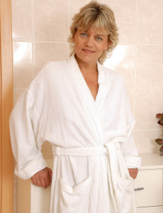 45 Year Old  Wife Sherry D Opens Her Robe and Gives Us a Peek