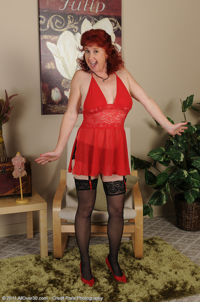 Popular  Older Stunner Redhead Surely in Knee High Tights  Opens Broad