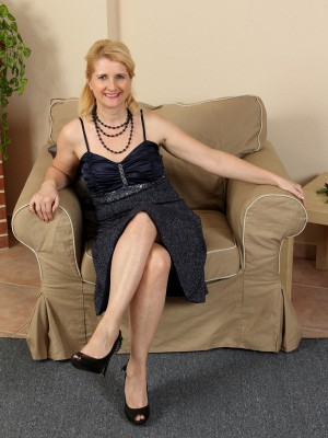 Elegant 50 Year Old Jennyfer B Glides out of Her Dark Evening Dress