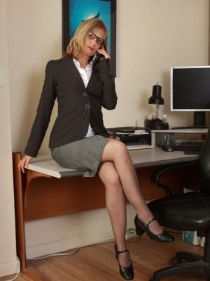 Super Horny  Blond Secretary Lexa Mayfair Pulls Open Her Box on the Desk