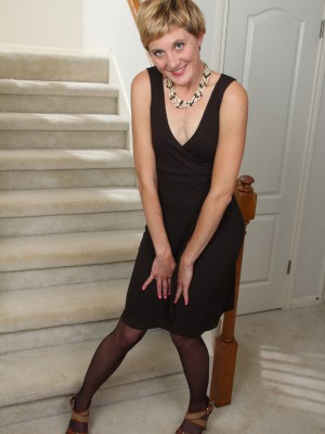 Slender Plus  Older Katrina Mathews   Opening Up Her Gams Found on the Stairs