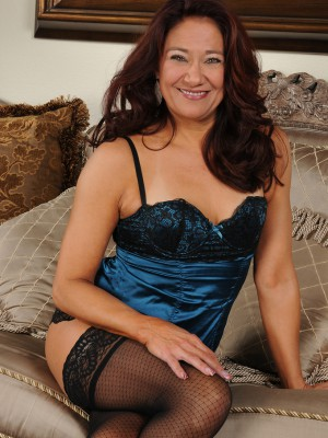 52 Year Old Renee Ebony Inside Blue Panties Plus Tights Found on the Couch