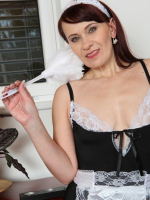Older Maid Vera Sensation  Takes off Plus Slips Her Feather Duster Deep