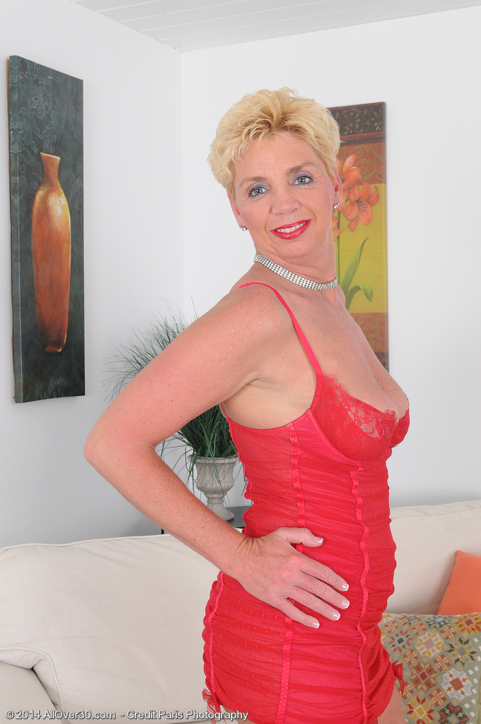 Blond Haired 47 Year Old Taylor Lynn in Red Undies Opening