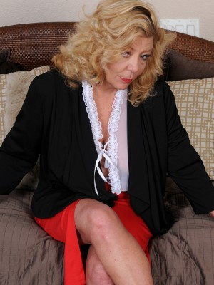 Blond Haired 52 Yr Old Karen Summer Slides from the Lady Work Garments