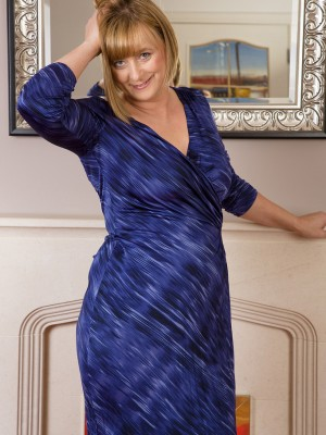 46 Yr Old  Blond April  Glides off the Woman Elegant Blue Dress Only for You